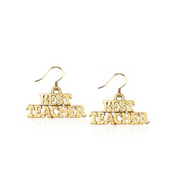 Best Teacher Charm Earrings in Gold
