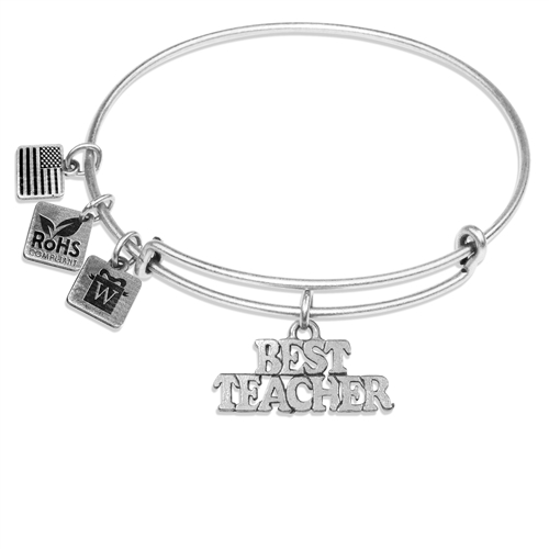 Best Teacher Charm Bangle in Silver