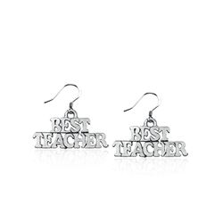 Best Teacher Charm Earrings in Silver