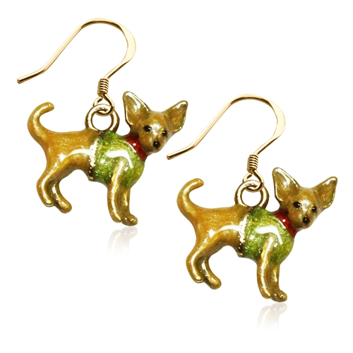 Chihuahua Dog Charm Earrings in Gold