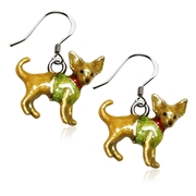 Chihuahua Dog Charm Earrings in Silver