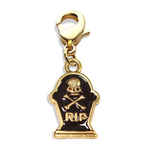 Tombstone with Skull Charm Dangle