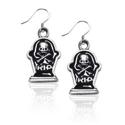 Tombstone with Skull Charm Earrings in Silver