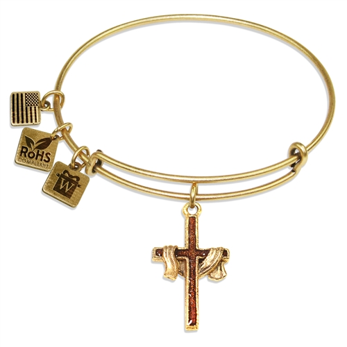 Cross with Shroud Charm Bangle in Gold
