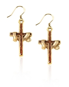 Cross with Shroud Charm Earrings in Gold