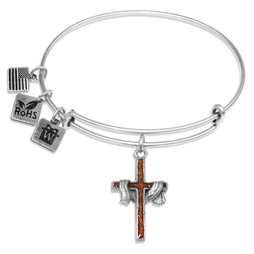 Cross with Shroud Charm Bangle in Silver