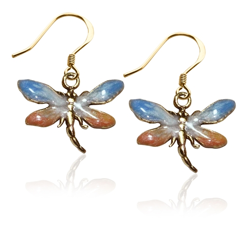 Dragonfly Charm Earrings in Gold