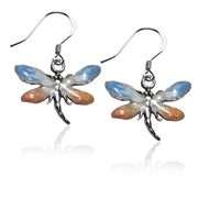 Dragonfly Charm Earrings in Silver