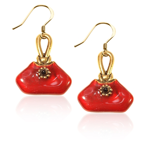 French Purse Charm Earrings in Gold
