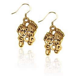 Walk with God Feet Charm Earrings in Gold