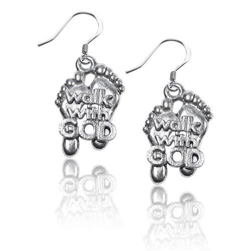 Walk with God Feet Charm Earrings in Silver