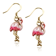 Flamingo Charm Earrings in Gold
