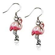 Flamingo Charm Earrings in Silver