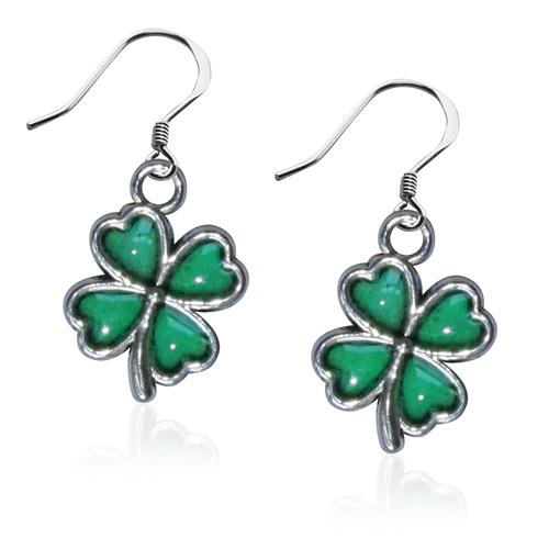 St. Patrick's Four Leaf Clover Windowpane Charm Earrings in Silver