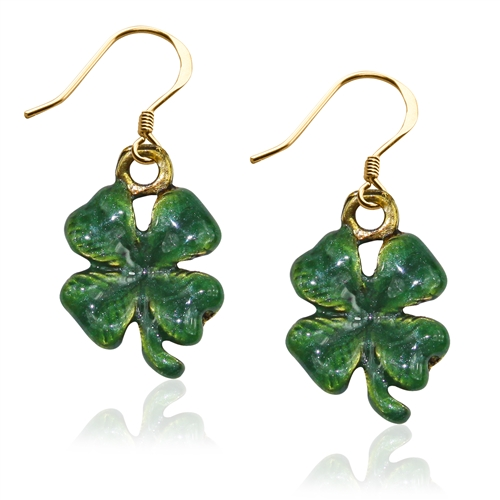 St. Patrick's 4-Leaf Clover Charm Earrings in Gold