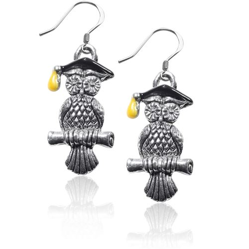 Owl Charm Earrings in Silver