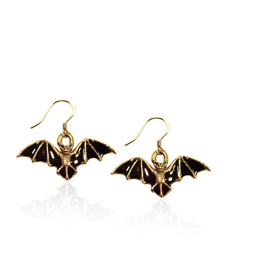 Bat Charm Earrings in Gold