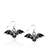 Bat Charm Earrings in Silver