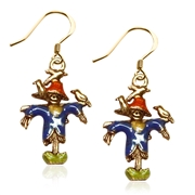 Halloween Scarecrow Charm Earrings in Gold