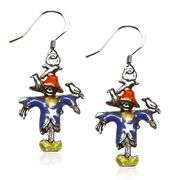 Halloween Scarecrow Charm Earrings in Silver