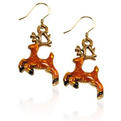 Reindeer Charm Earrings in Gold