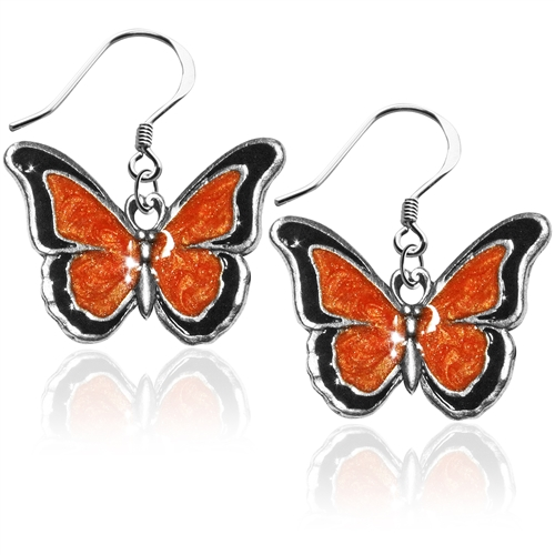 Butterfly Charm Earrings in Silver