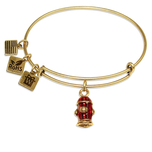 Fire Hydrant Charm Bangle in Gold