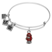 Fire Hydrant Charm Bangle in Silver