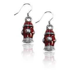 Fire Hydrant Charm Earrings in Silver