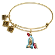 Tooth Paste with Brush Charm Bangle in Gold