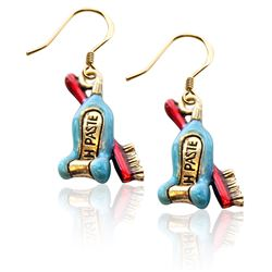 Whimsical Gifts Tooth Paste with Brush Charm Earrings in Gold
