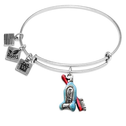 Tooth Paste with Brush Charm Bangle in Silver
