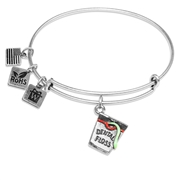 Dental Floss Charm Bangle in Silver