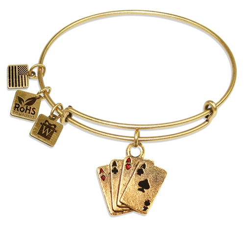 Aces Charm Bangle in Gold