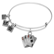 Aces Charm Bangle in Silver
