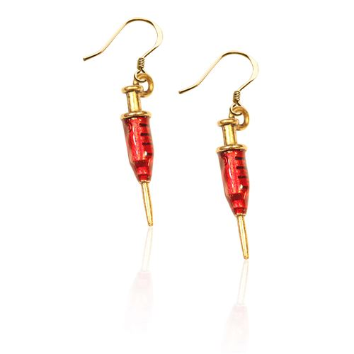 Whimsical Gifts Syringe Charm Earrings in Gold