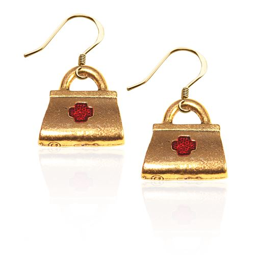 Whimsical Gifts Medical Bag Charm Earrings in Gold