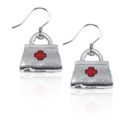 Whimsical Gifts Medical Bag Charm Earrings in Silver