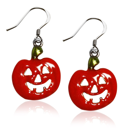Halloween Pumpkin Charm Earrings in Silver