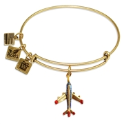 Airplane Charm Bangle in Gold