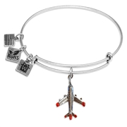 Airplane Charm Bangle in Silver