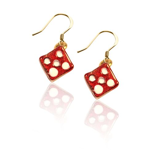 Dice Charm Earrings in Gold