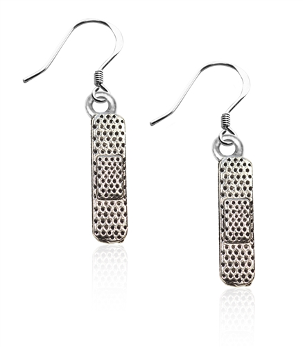 Whimsical Gifts Bandage Charm Earrings in Silver