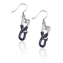 Whimsical Gifts Stethoscope Charm Earrings in Silver