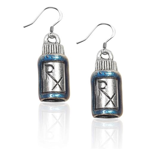 Whimsical Gifts RX Charm Earrings in Silver
