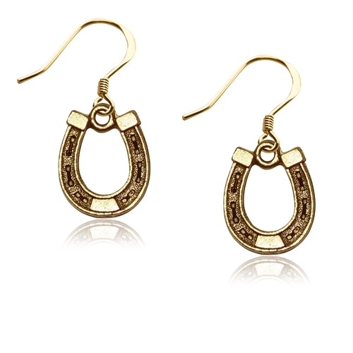 Horse Shoe Charm Earrings in Gold