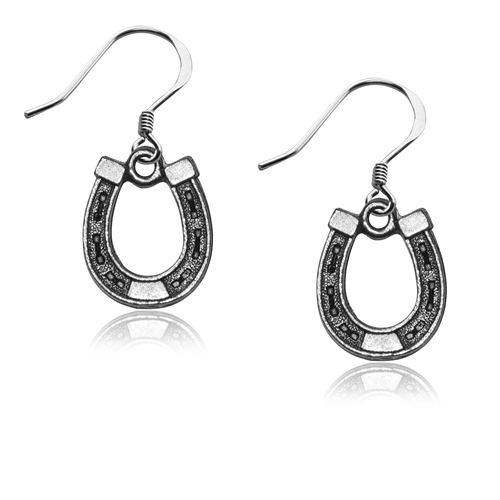 Horse Shoe Charm Earrings in Silver