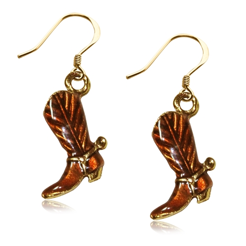 Cowboy Boot Charm Earrings in Gold