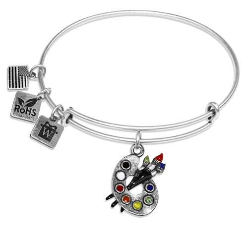 Artist Palette Charm Bangle in Silver