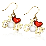 I Love Golf Charm Earrings in Gold
